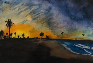 kitesurfen, kitesurfer, artwork, Waterkunst, zonsondergang
