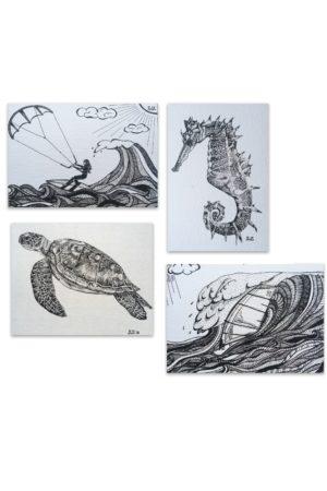zeedieren, kiten, windsurf, Waterkunst