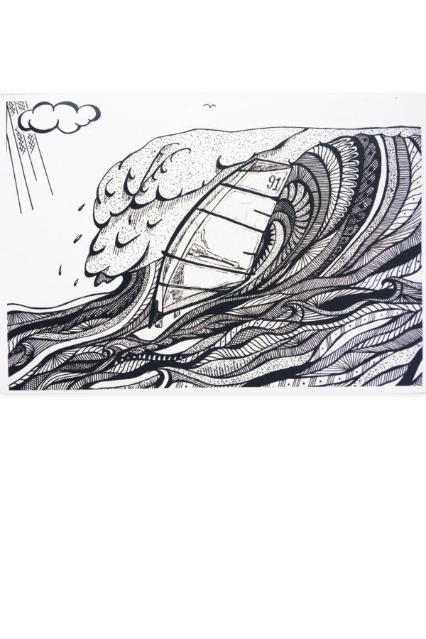 artprint, artwork, windsurfen, windsurfer, Waterkunst