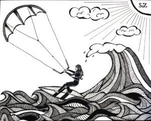 artwork, inkt, kitesurfen, kitesurfer, kiten, Waterkunst