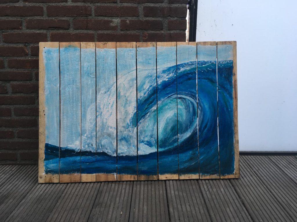 wave, surfing, golf, acrylverf, schilderij, acryl, waterkunst