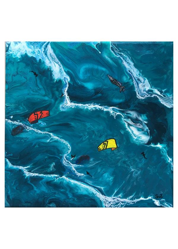acrylic pouring, acryl, painting, artwork, waterkunst, kitesurfing, kitesurf